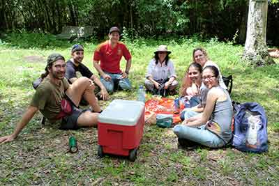 With no concessions in the park and the nearest restaurant miles away, smart visitors, like this group, bring their own food. These picnickers found a dry spot right off Janes Scenic Drive.