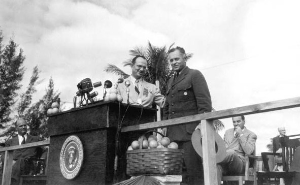 Dan Beard, first first superintendent of Everglades National Park, at dedication in 1947. He recommended that Fakahatchee Strand be included within the park's boundaries.