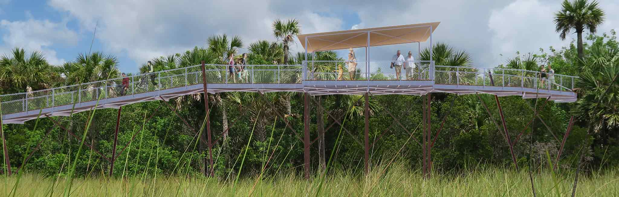 This rendering by Corban Architecture shows how an observation platform on a canopy walk could increase access for all.