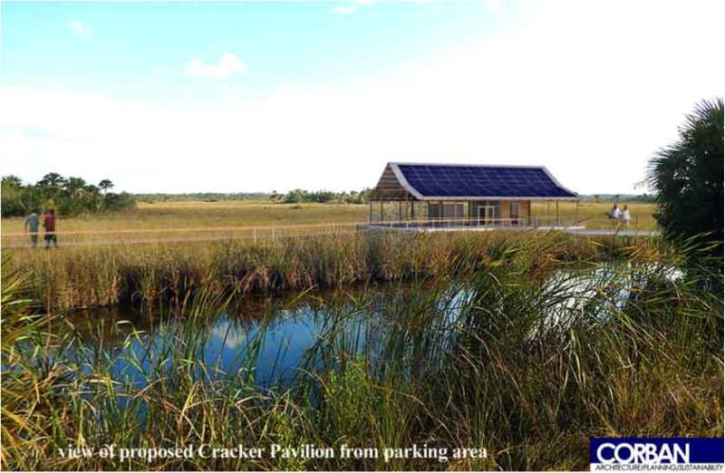 Digital rendering of the proposed Cracker Pavilion. Placing the pavilion across the canal gives people the opportunity to experience the Fakahatchee, if they choose not to walk the boardwalk.