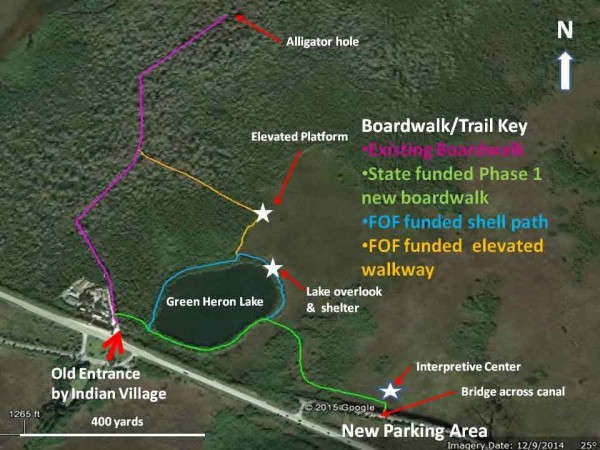 Overview of the Fakahatchee's Big Cypress Bend Boardwalk expansion site layout. Locations and routes of new boardwalk sections are approximate.